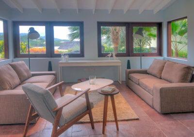 Living room at the garden villa