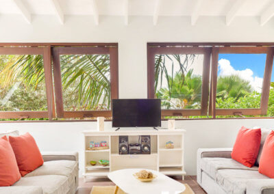 Sea view villa living space at 473 Grenada Boutique Resort