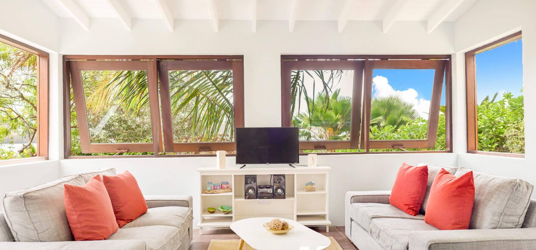 Sea view villa living space at 473 Grenada Boutique Resort